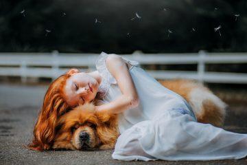 girl and dog sleeping on gray pavement